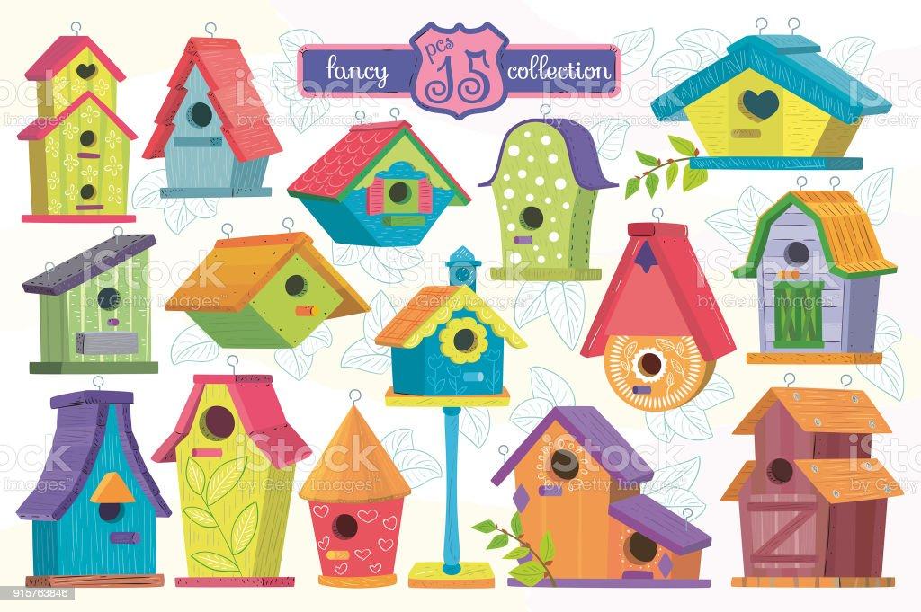 Birdhouse group.Set the birdhouse vector art illustration