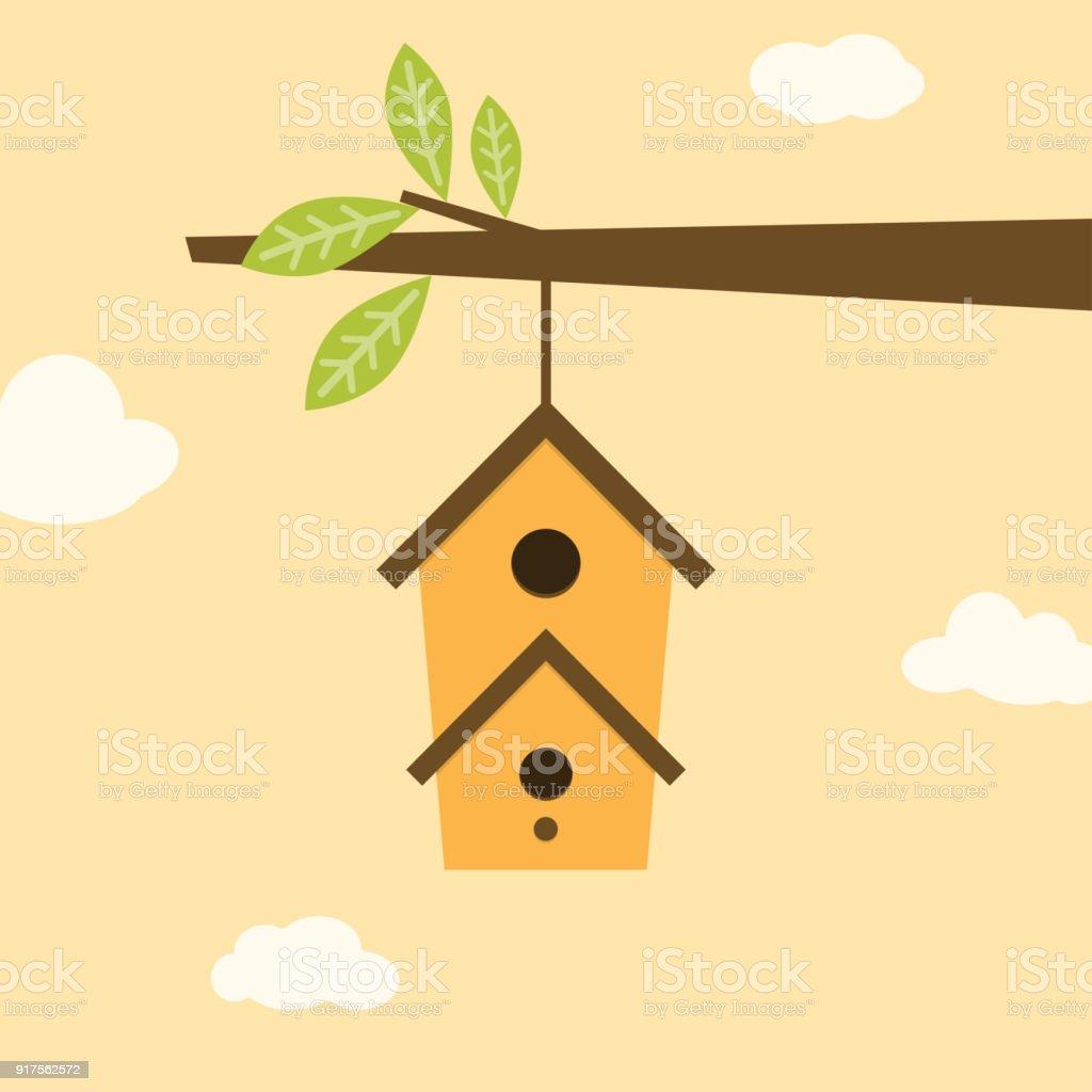 birdhouse on branch vector art illustration