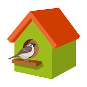 Birdhouse, single icon in cartoon style.Birdhouse, vector symbol stock illustration .