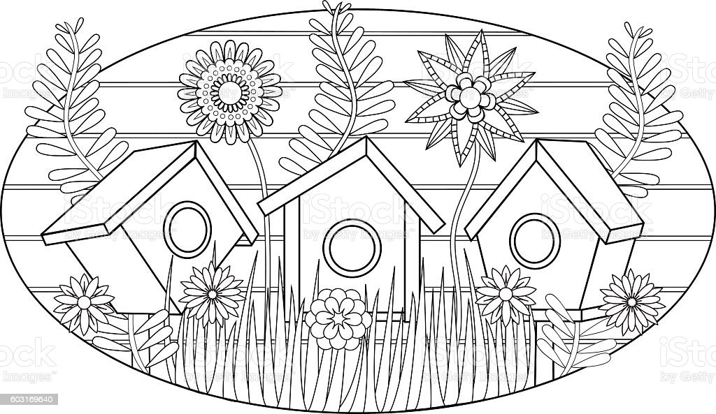 Birdhouses In The Garden Vector Illustration For Adult Coloring Book Royalty Free Stock