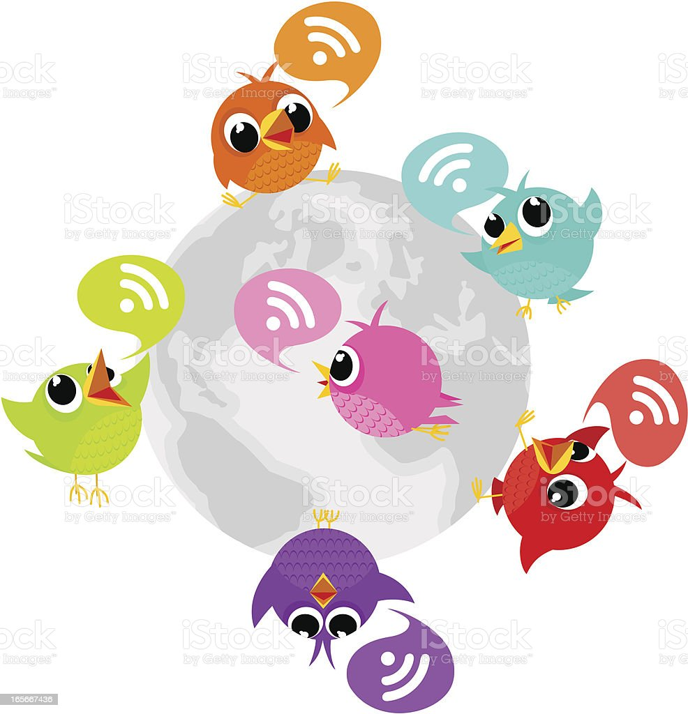 Birdie, tweet, bluebird, feed, social media, text, follow vector art illustration