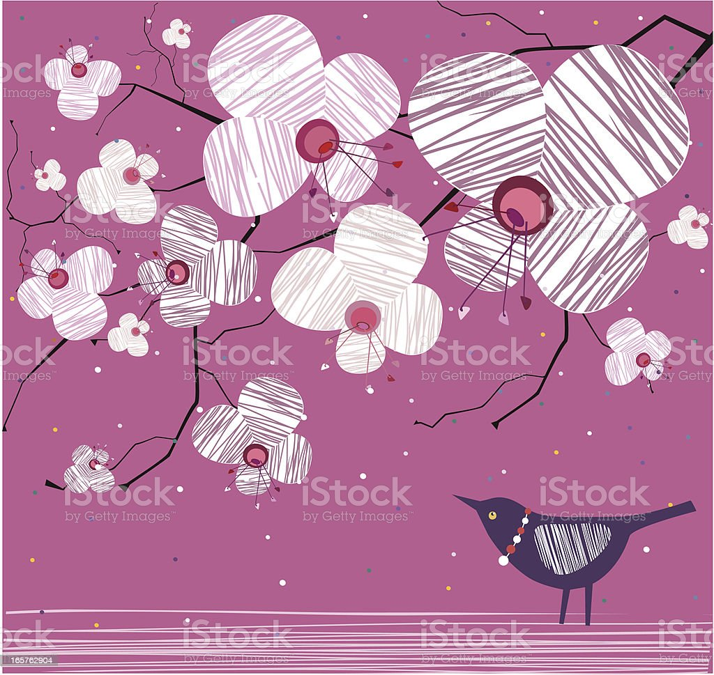 Birdie With Beads And Blooming Tree On Pink royalty-free stock vector art
