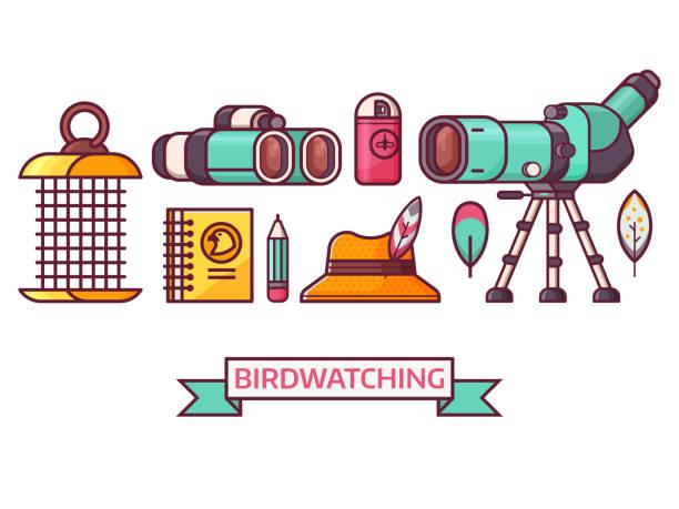 birding and birdwatching ornithology icons - bird watching stock illustrations, clip art, cartoons, & icons