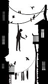 birdman, boy hanging on the rope in the city with many pigeon, city character,  black and white scene, vector