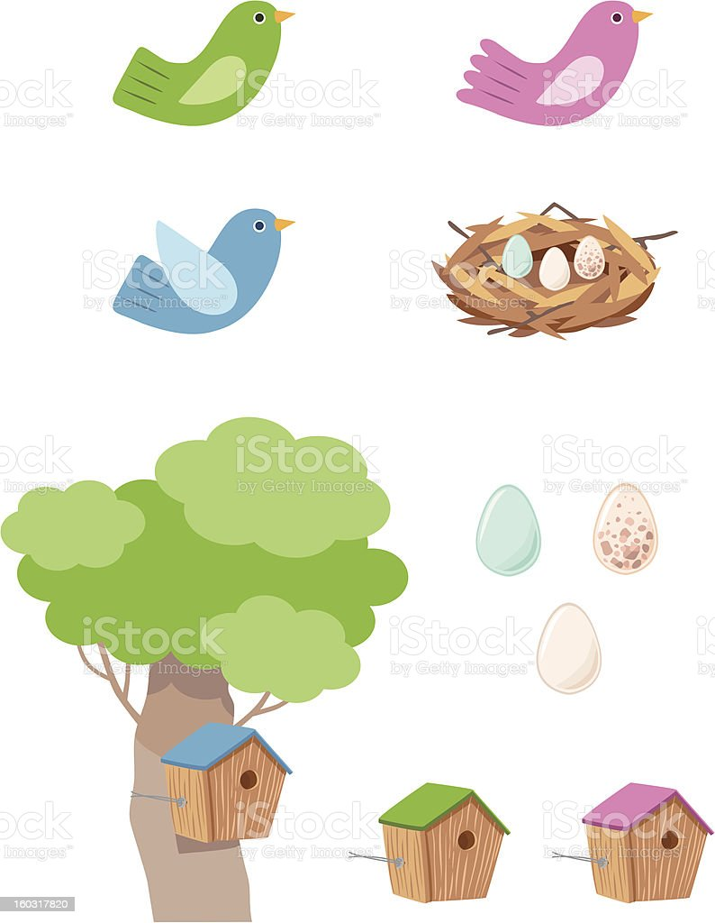 bird-nest vector art illustration