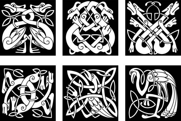 Aves y animales en Celta adorno - ilustración de arte vectorial