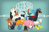 Vector illustration card with farm animals and birds standing near gates inviting to visit a farm yard.