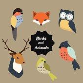 Birds and animals vector set