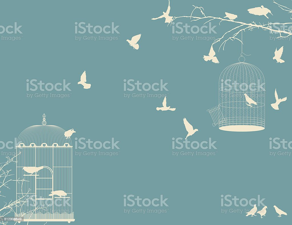 Birds and birdcages vector art illustration