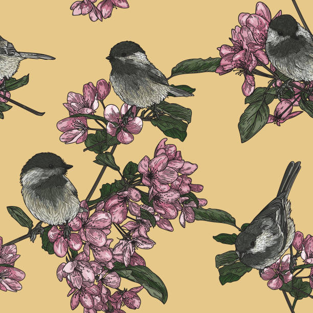 Birds and Blossoms Seamless Pattern vector art illustration