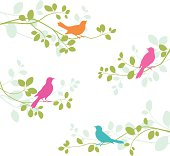 Illustration of birds on branches.  File is layered.  Global colors used and hi res jpeg included.