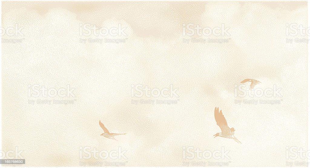Birds and Cloudscape Mezzotint royalty-free stock vector art