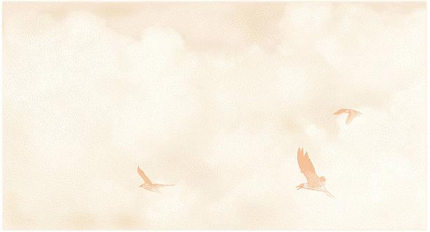 bildbanksillustrationer, clip art samt tecknat material och ikoner med birds and cloudscape mezzotint - stillsam scen