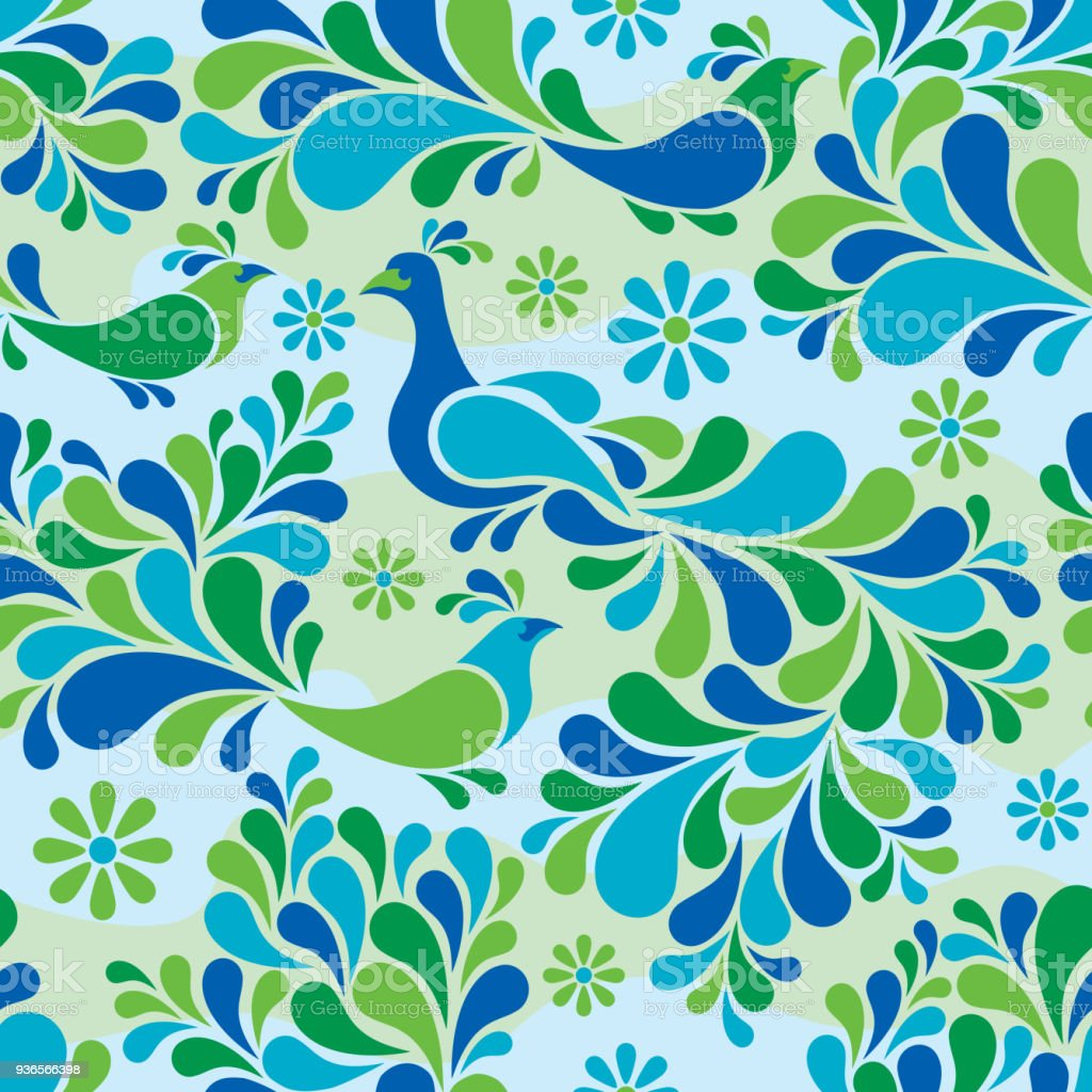 Birds and flowers pattern in cool colors stock vector art more birds and flowers pattern in cool colors royalty free birds and flowers pattern in cool izmirmasajfo Image collections