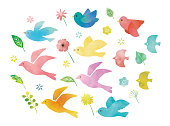 istock Birds and flowers watercolor 1203896435