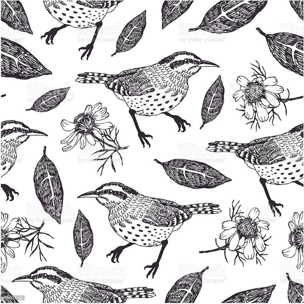 Birds and leaves background vector art illustration