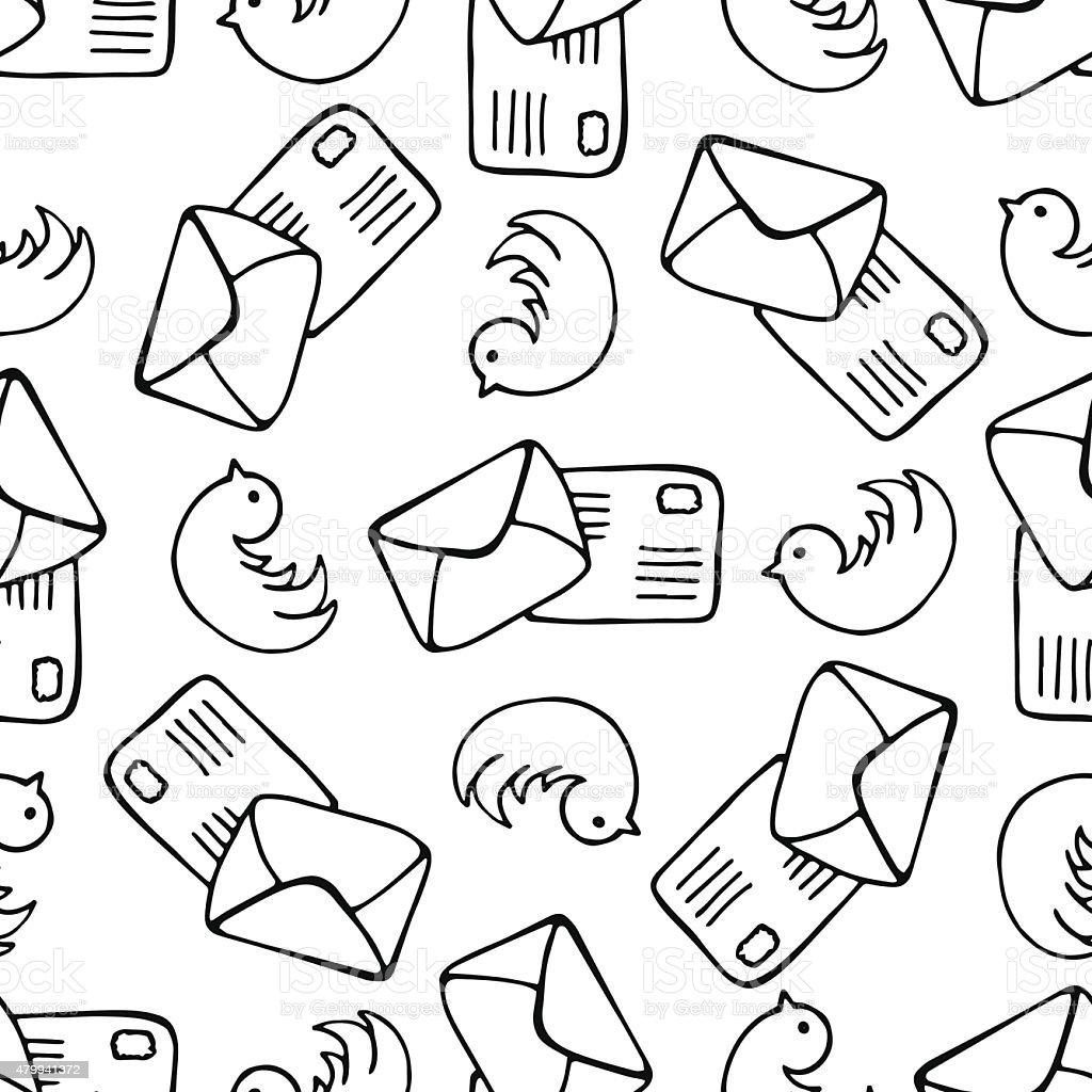 Ilustración de Aves Y Carta De Mensajes Patrón Sin Costuras Fondo De ...