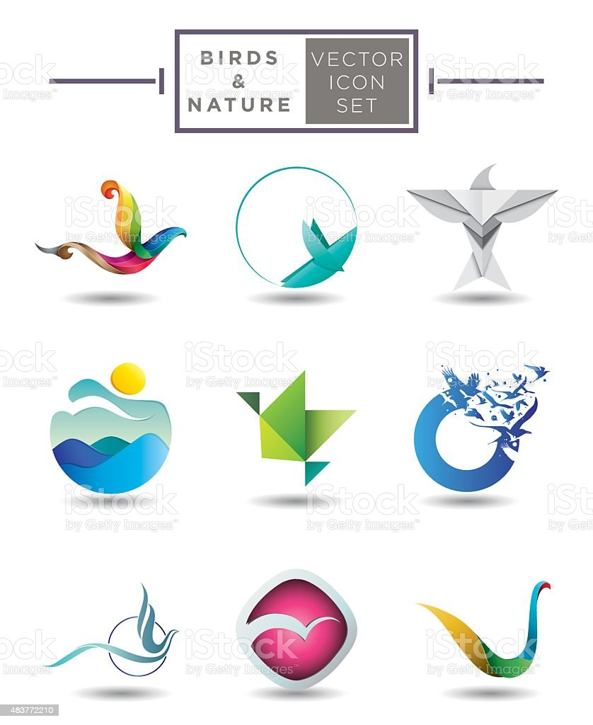 Birds and nature emblem collection vector art illustration