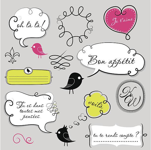 Birds and speech bubbles set vector art illustration