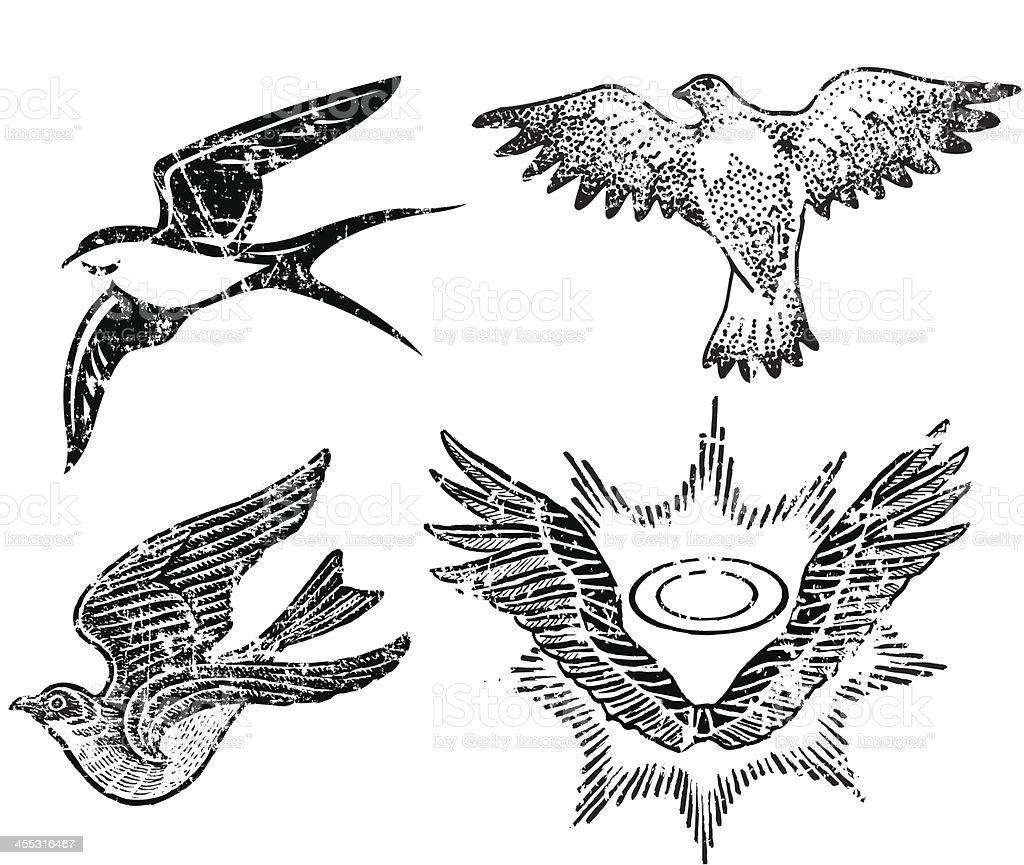 鳥とウィングヘイロー設計グランジスタイル ベクターアートイラスト