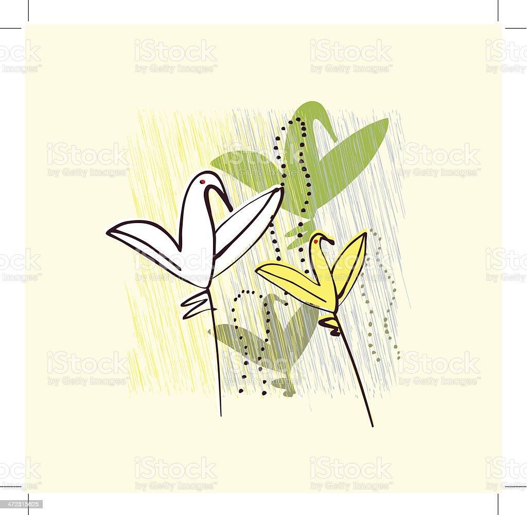 Ptaki W Kwiaty Zaproszenie Pozdrowienia Kartka Pocztowa Szablon