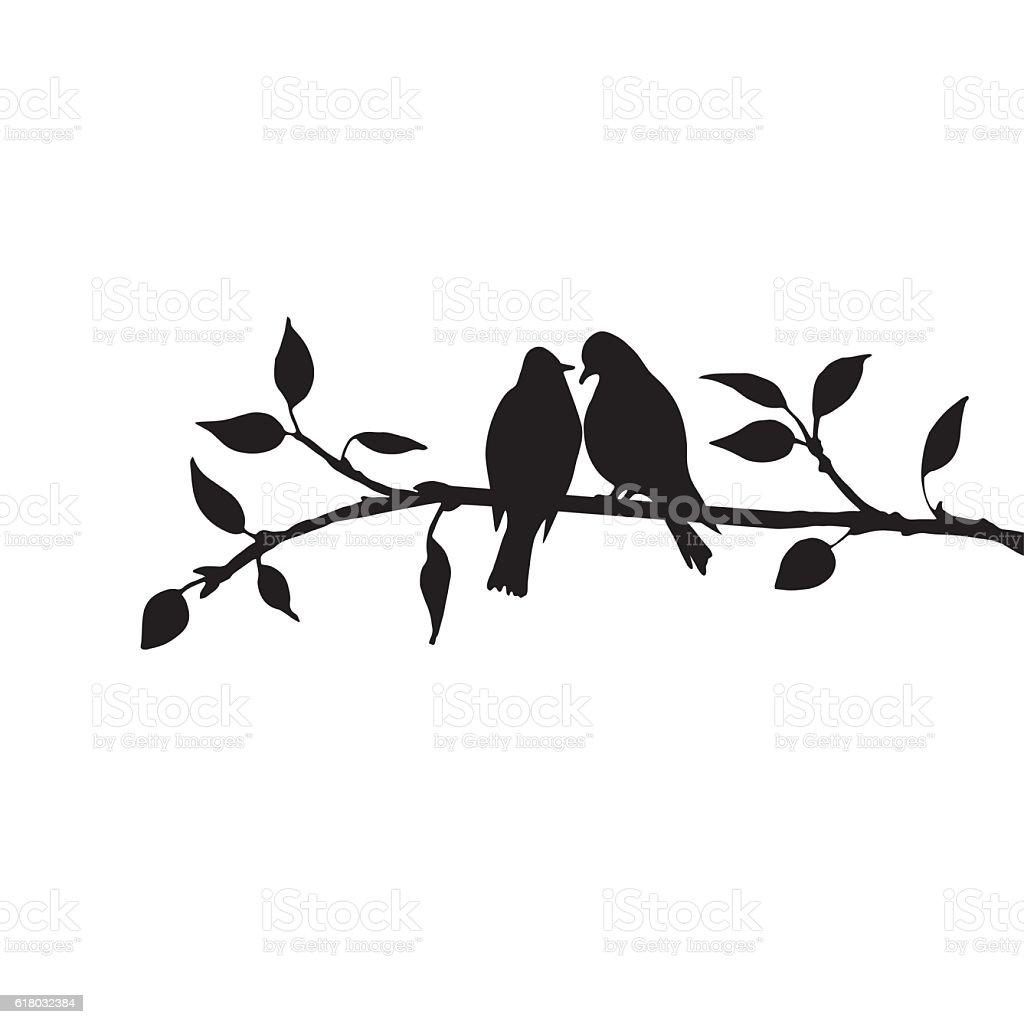 birds at tree silhouettes vector art illustration