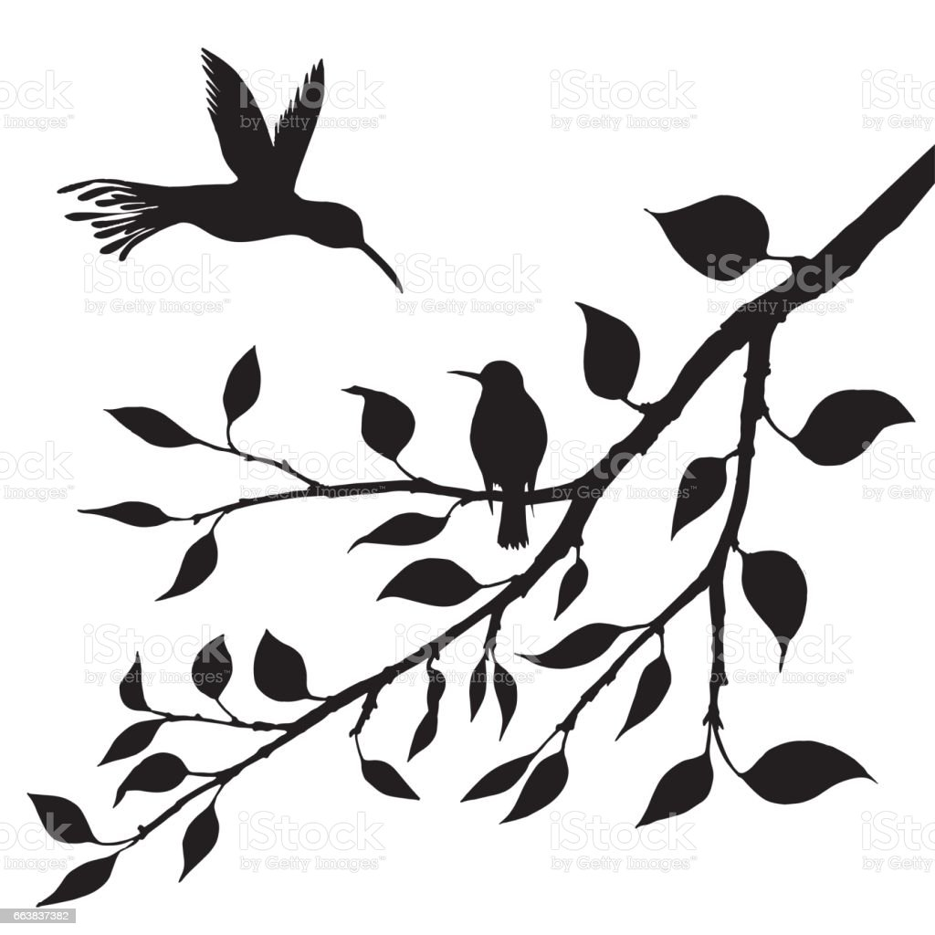 Birds At Tree Silhouettes Royalty Free Stock Vector Art Amp