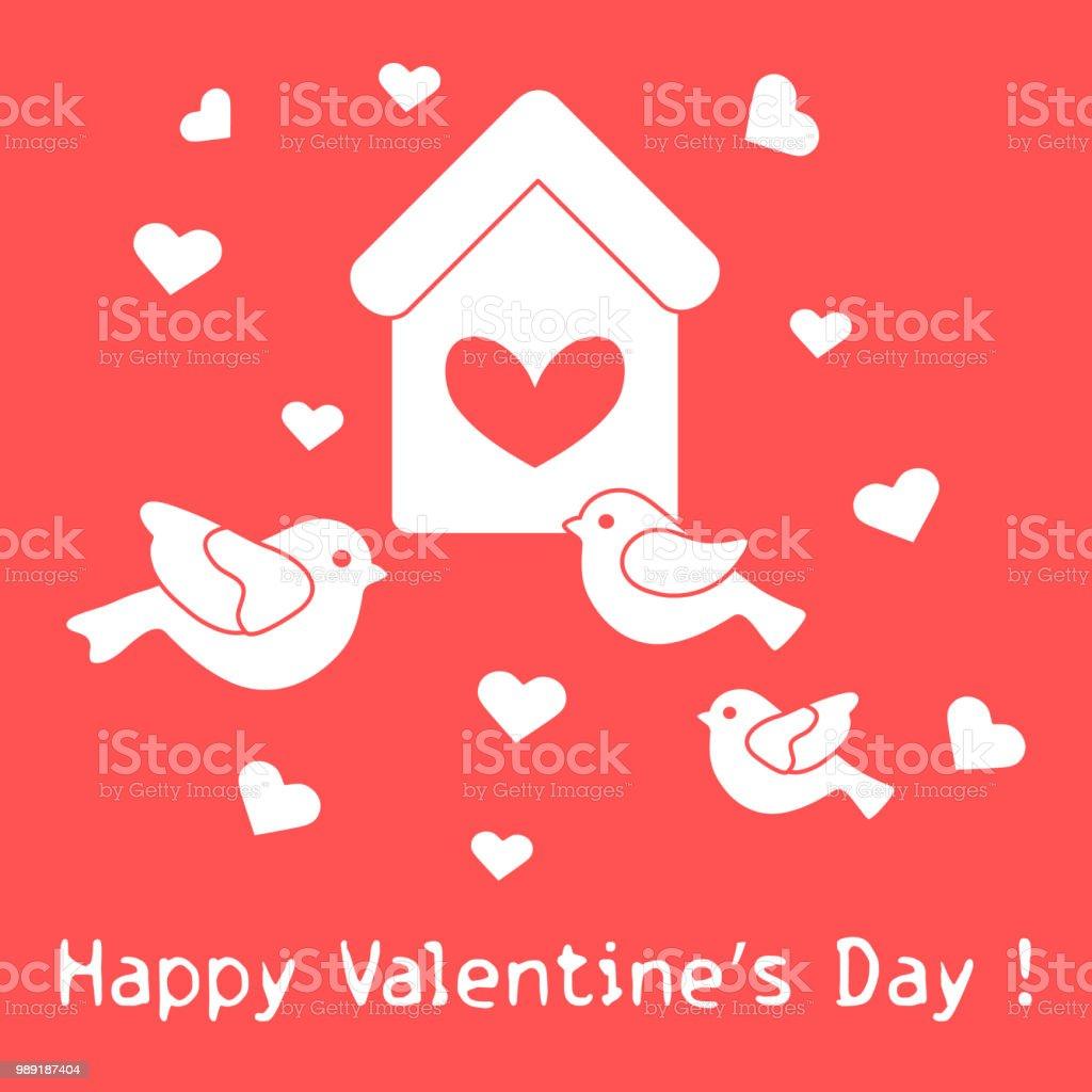 Vogel Vogelhaus Und Herzen Zum Valentinstag Stock Vektor Art Und