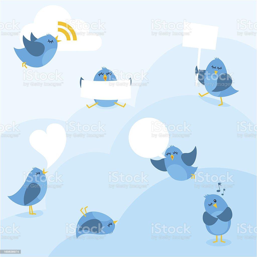 Birds bluebirds message copyspace myillo cloud share blue vector art illustration