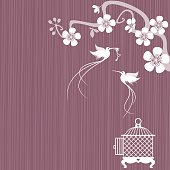 ... Two birds have flown from a bird cage with an open door, one of the birds carries a heart shaped key in it's beak.