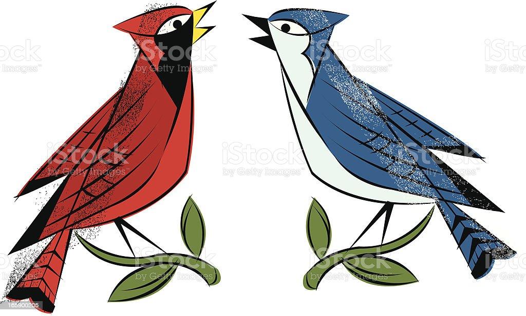Birds - Cardinal, Blue Jay vector art illustration