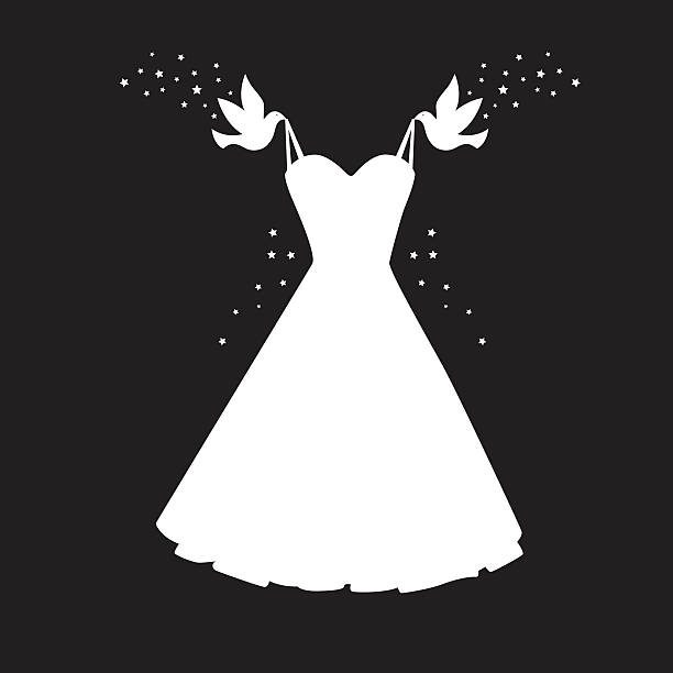 Birds Carrying Dress Icon Vector illustration of two birds with stars carrying a white dress against a black background. wedding dress stock illustrations