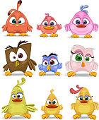 Set of 9 Family birds cartoon caracters.