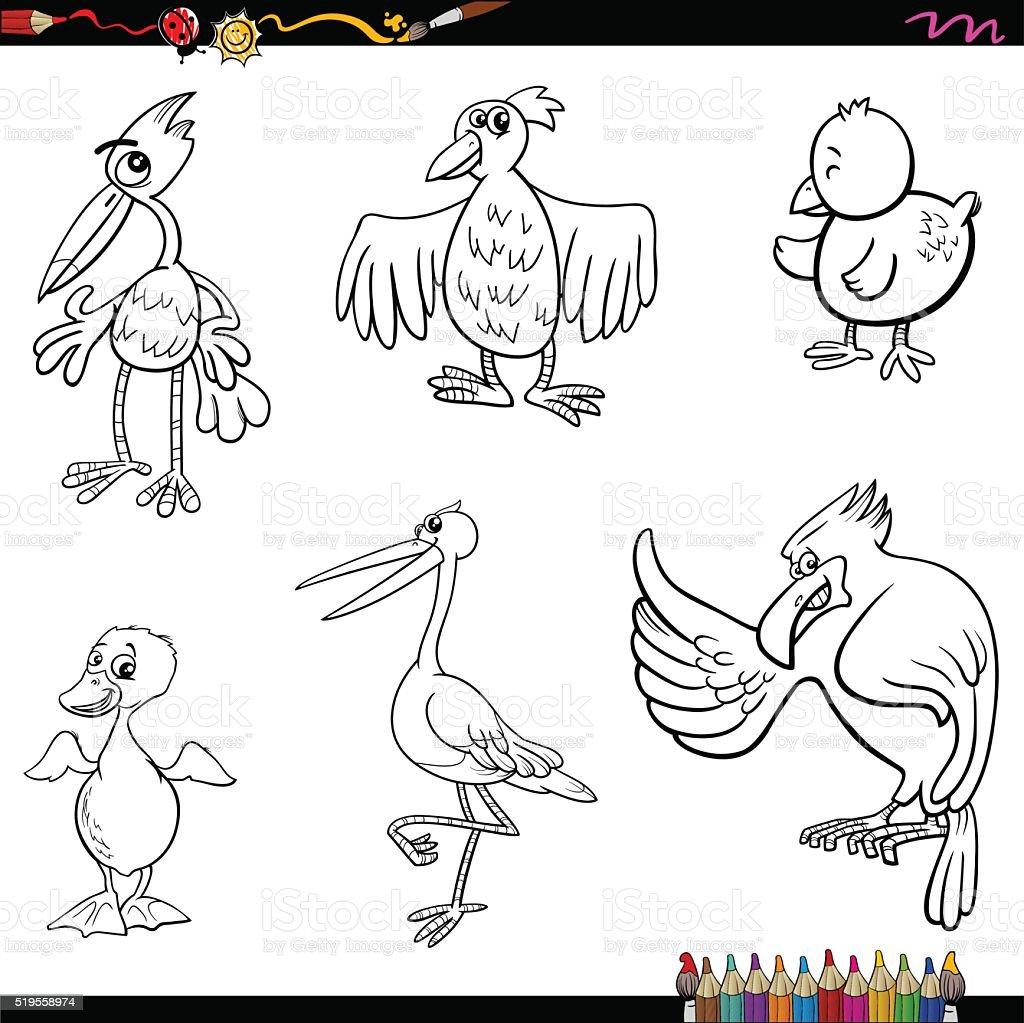 Birds Cartoon Coloring Page Royalty Free Stock Vector Art