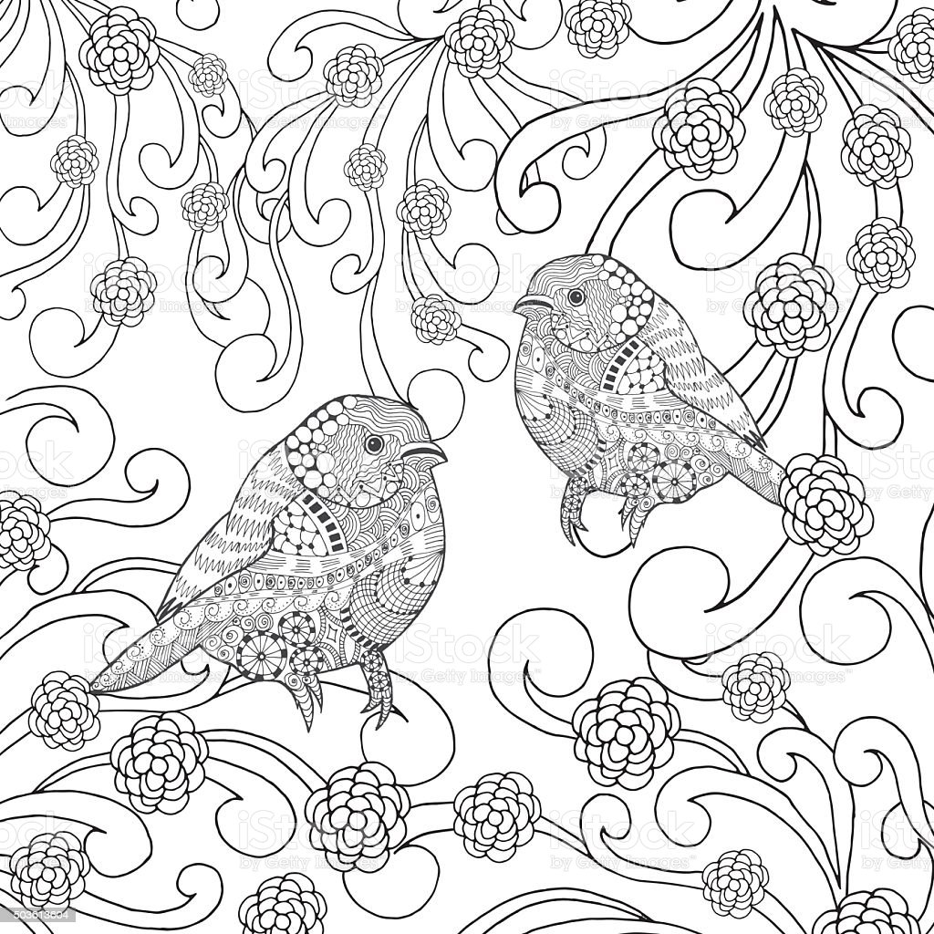 Birds coloring page stock vector art more images of for Coloring page bird