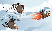 Bird in fire forwarding birds in a race.