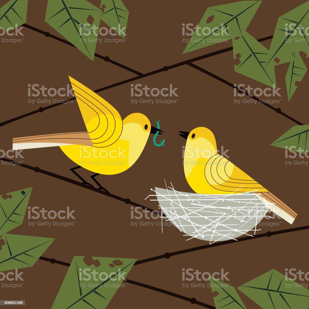 Birds couple in nest vector art illustration
