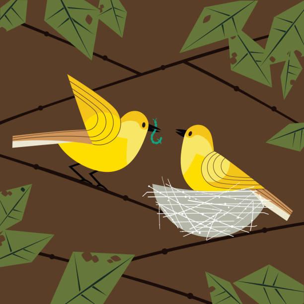 birds couple in nest - bird watching stock illustrations, clip art, cartoons, & icons