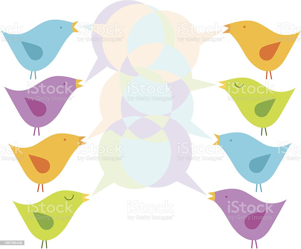 birds dialogue vector art illustration