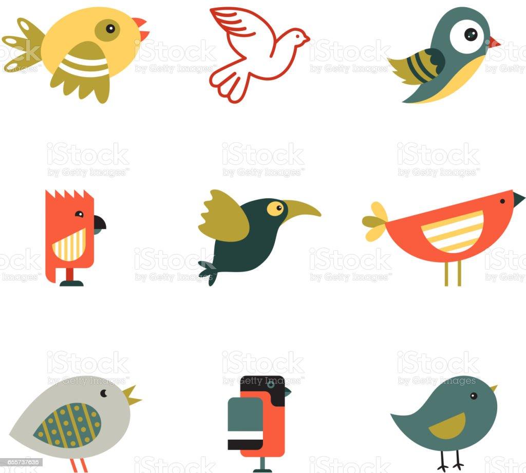 Birds Different Styles Vector Illustration векторная иллюстрация