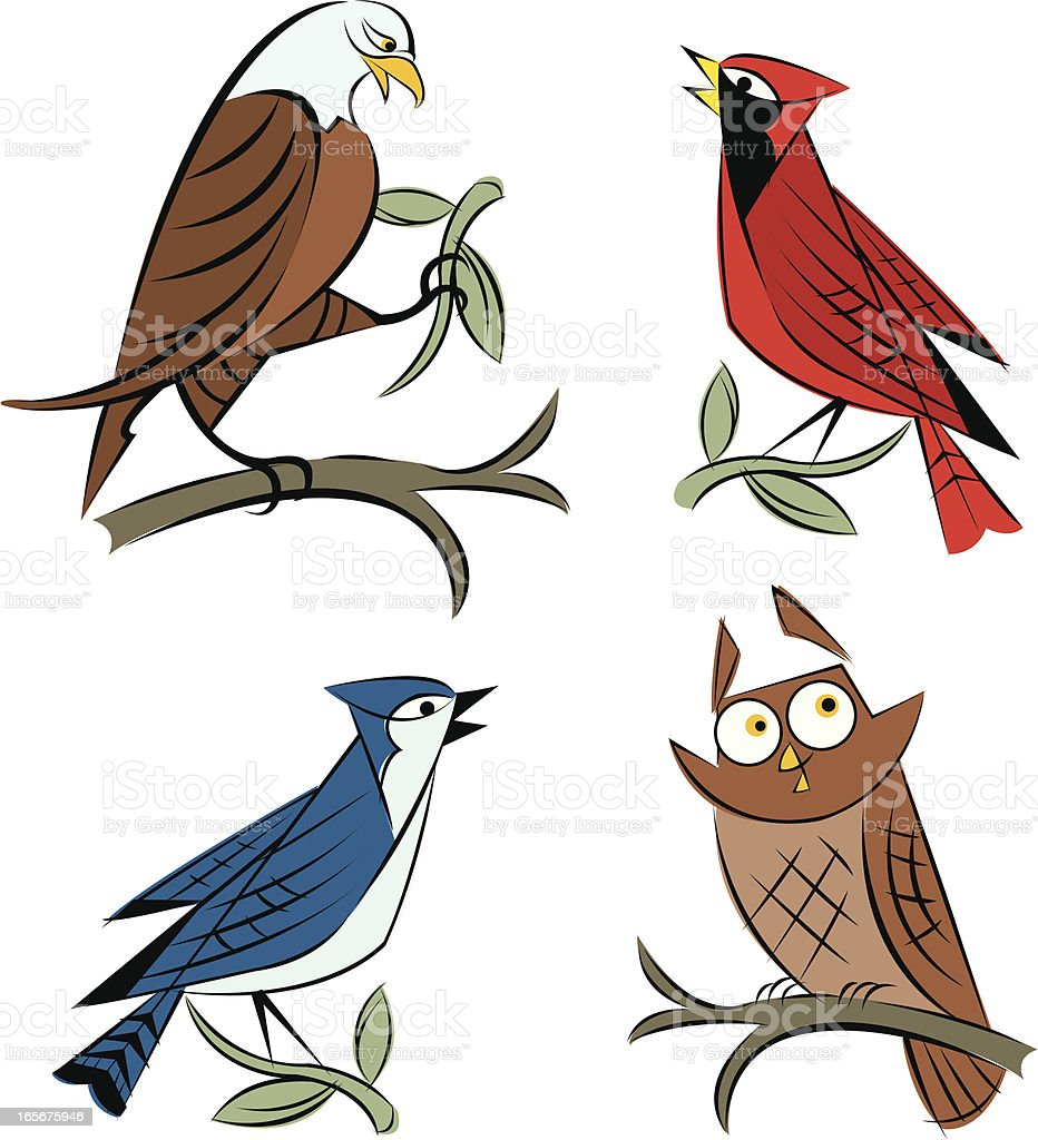 Birds - Eagle, Blue Jay, Owl and Cardinal royalty-free birds eagle blue jay owl and cardinal stock vector art & more images of animal