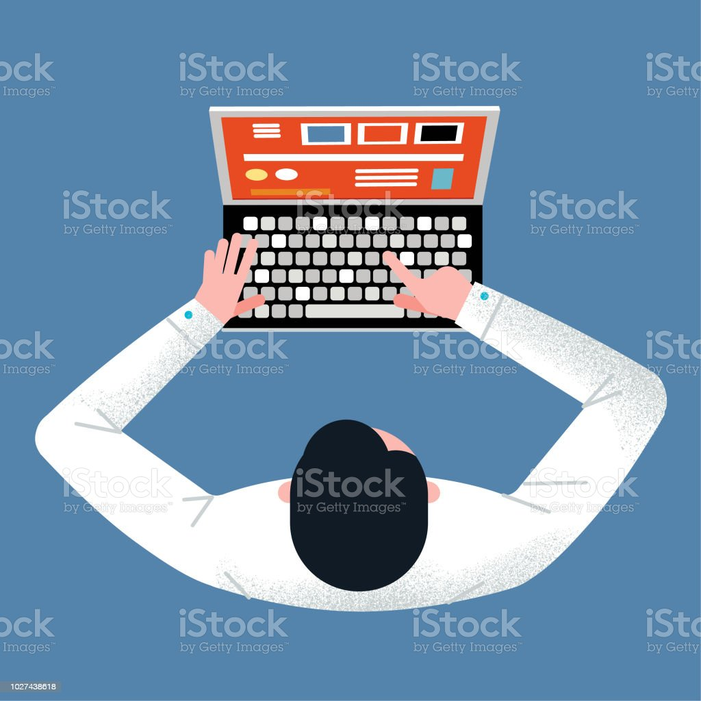 Birds eye laptop vector art illustration