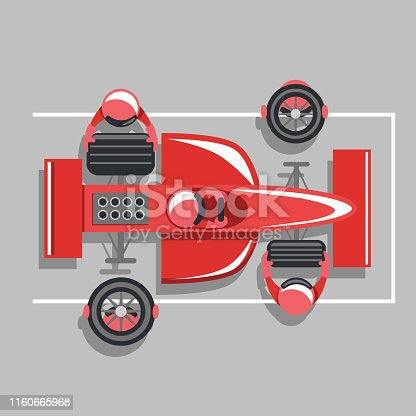 Vector cartoon illustration of a formula one or indy car pit crew team changing a set of tires on a red race car. Bird's eye view.
