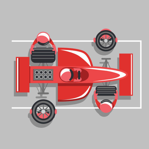 Bird's eye view of a race car pit crew changing tires Vector cartoon illustration of a formula one or indy car pit crew team changing a set of tires on a red race car. Bird's eye view. indy racing league indycar series stock illustrations