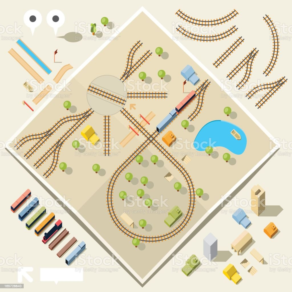 Birds eye view of a toy train and rail set vector art illustration