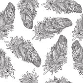 Birds feather ornamental seamless pattern. American native sign