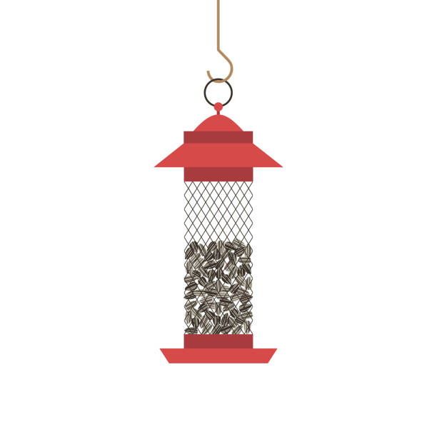 Birds feeder with seeds icon vector art illustration