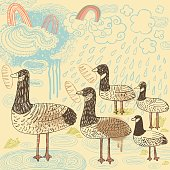 Hand drawn vector illustration of bunch of ducks and geese feeding