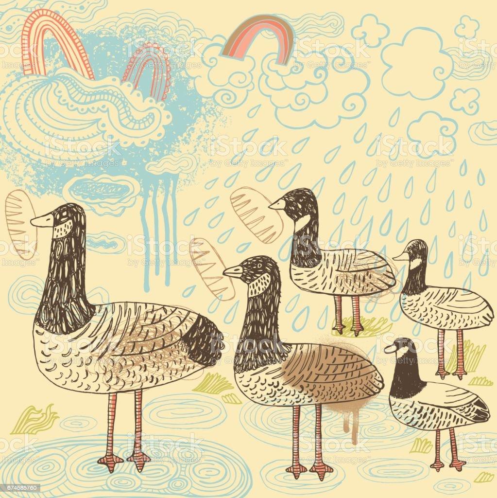 Birds feeding - Illustration vectorielle