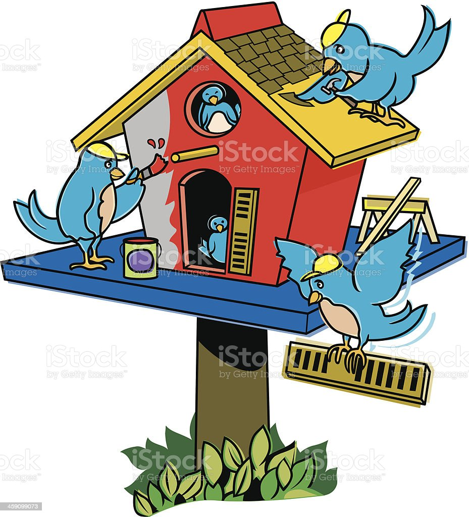 Birds Fixing Up Home C vector art illustration